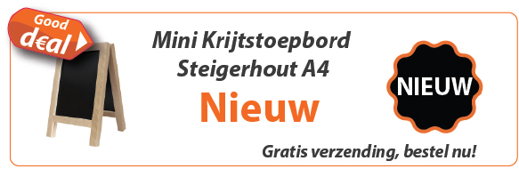 Nieuw: Krijtstoepbord Steigerhout mini A4