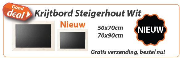 Krijtbord Steigerhout Wit