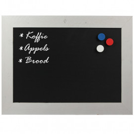 Krijtbord Magnetisch Steigerhout Wit 50x70cm