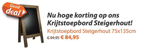 Krijtstoepbord Steigerhout 75x135